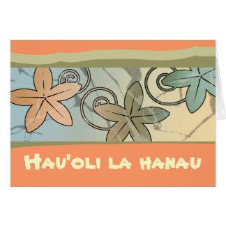 オレンジおよび黄色のハワイのハッピーバースデーカード カード