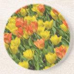 オレンジおよび黄色の春のチューリップ 敷物