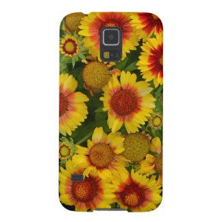 オレンジおよび黄色のechinaceaの花柄の箱 galaxy s5 ケース