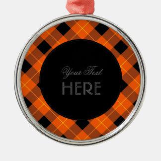 オレンジおよび黒いデザイナー格子縞パターン メタルオーナメント