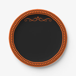 オレンジおよび黒い紙皿 ペーパープレート