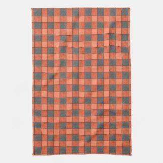 オレンジおよび黒いLgの格子縞の点検タオル キッチンタオル