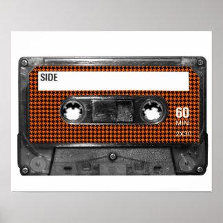 オレンジおよび黒く千鳥格子のなカセット ポスター