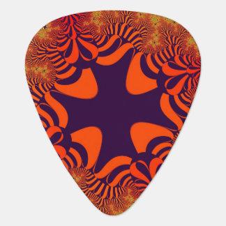 オレンジか紫色の火の星のギターピック ギターピック