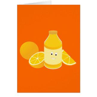 オレンジが付いているオレンジジュースの微笑のボトル カード