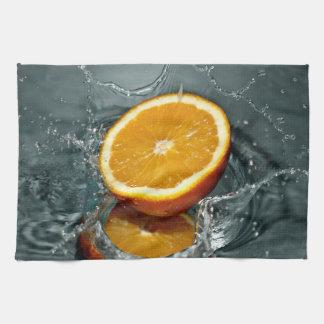 オレンジしぶき手タオル キッチンタオル