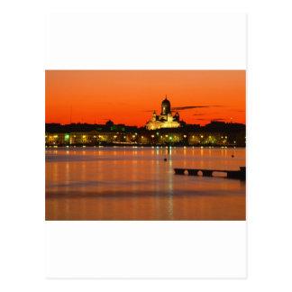 オレンジたそがれ、ヘルシンキ、フィンランド ポストカード