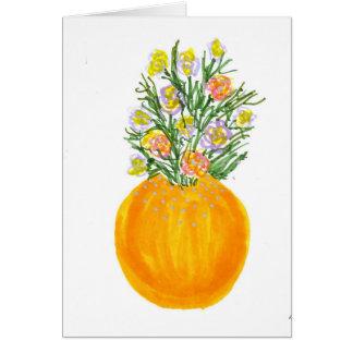 オレンジつぼおよび花 カード