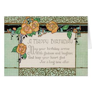 オレンジによってはアールデコの韻を踏む詩のバースデー・カードが開花します カード