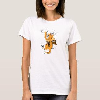 オレンジによって飛ぶ子ネコ Tシャツ