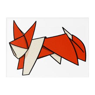 オレンジによってOrigamiの折られるペーパーキツネ アクリルウォールアート