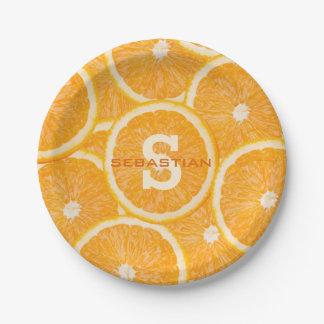 オレンジのカスタムなモノグラムの紙皿 ペーパープレート