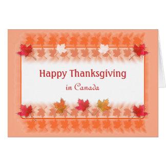 オレンジのカナダのかえでの葉の感謝祭 カード