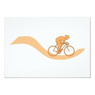 オレンジのサイクリストのデザイン カード