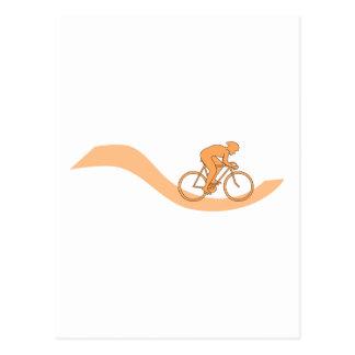 オレンジのサイクリストのデザイン ポストカード