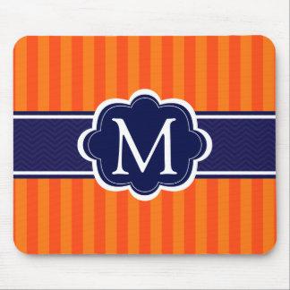 オレンジのストライプな濃紺のカスタムなモノグラムのイニシャル マウスパッド