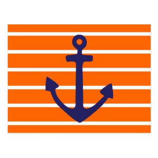 オレンジのストライプの海軍いかり ポストカード