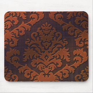 オレンジのダマスク織の切口のビロード、影及びブラウン マウスパッド