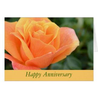 オレンジのバラのデザインの記念日の挨拶状 ノートカード
