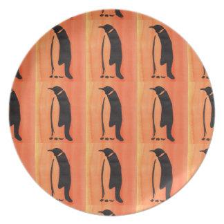 オレンジのペンギン プレート