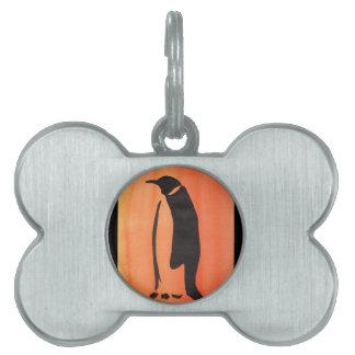 オレンジのペンギン ペットネームタグ