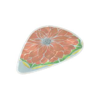 オレンジのモダンなポインセチア パールセルロイド ギターピック
