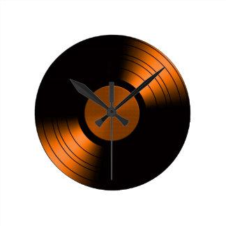 オレンジのレトロのレコードのアルバム ラウンド壁時計