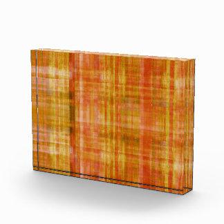 オレンジの抽象的なラインパターンアクリルの芸術のブロック 表彰盾