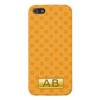 オレンジの最初のモノグラムのiphone 5の場合を点検して下さい iPhone 5 case