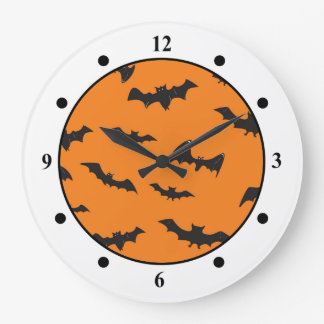 オレンジの気味悪いこうもり ラージ壁時計