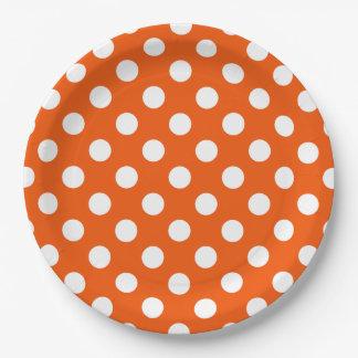 オレンジの白い水玉模様 ペーパープレート