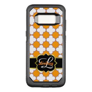オレンジの背部のクローバーのモノグラムそしてクローバー オッターボックスコミューターSamsung GALAXY S8 ケース