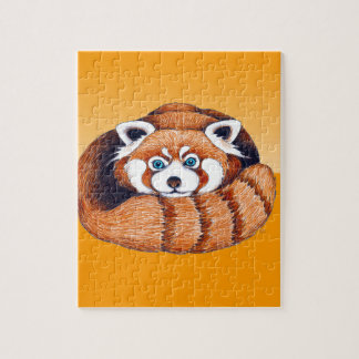オレンジの赤く小さいパンダ ジグソーパズル