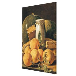 オレンジの静物画、スイカ キャンバスプリント