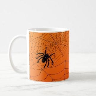 オレンジのSpiderwebs コーヒーマグカップ