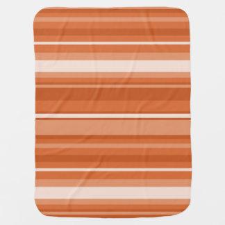 オレンジは縞で飾ります ベビー ブランケット