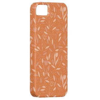 オレンジは花模様を去ります iPhone SE/5/5s ケース