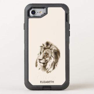オレンジを持つヴィンテージのライオンは透明なスケッチを注目します オッターボックスディフェンダーiPhone 8/7 ケース