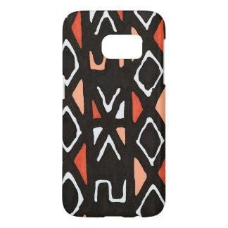 オレンジアフリカ人のMudclothの種族のプリント Samsung Galaxy S7 ケース