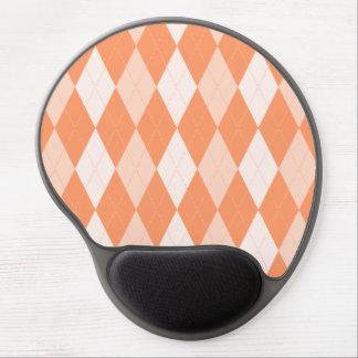 オレンジアーガイル柄のなパステル調の蜜柑の小さいダイヤモンドの形 ジェルマウスパッド