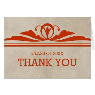 オレンジエレガントなDecoの卒業のサンキューカード グリーティングカード