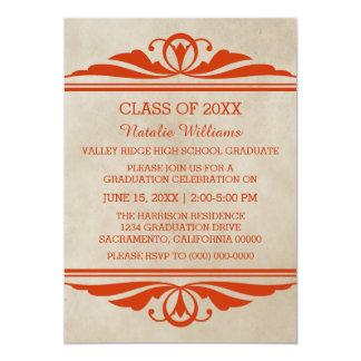 オレンジエレガントなDecoの卒業の招待 カード
