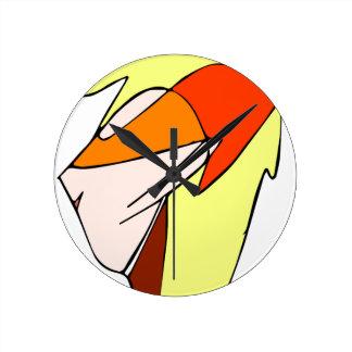 オレンジガラスの日本製アニメのプロフィール ラウンド壁時計