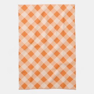 オレンジギンガムの台所タオル キッチンタオル