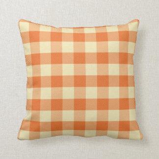 オレンジギンガムの枕 クッション