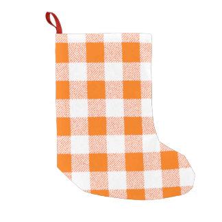 オレンジギンガムの点検パターン スモールクリスマスストッキング