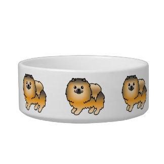オレンジクロテンの柔らかい漫画のポメラニア犬犬 ボウル