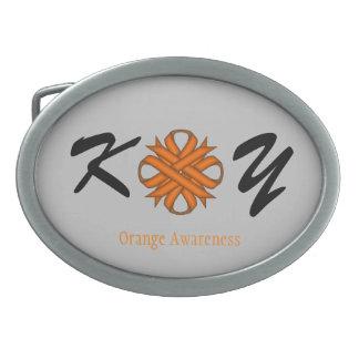 オレンジクローバーのリボン 卵形バックル