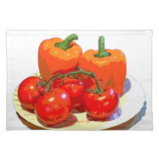オレンジコショウ、赤いトマト ランチョンマット