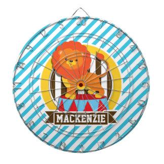 オレンジサーカスの大テントのサーカスのライオン; 青及び白のストライプ ダーツボード